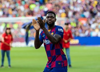 Samuel Umtiti, #23 of Fc Barcelona during the presentation of the team 19-20 between  FC Barcelona  and Arsenal FC at Camp Nou stadium, in Barcelona, Spain, on August 04, 2019. (Credit Image: © AFP7 via ZUMA Wire)