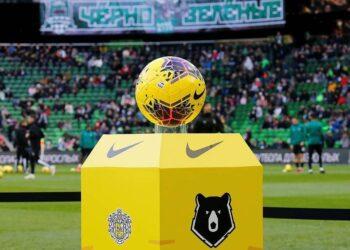 """KRASNODAR, RUSSIA - MARCH 1, 2020: The official ball of the Russian Premier League unveiled ahead of the 2019/20 Russian Premier League Round 20 football match between FC Krasnodar and FC Ufa at Krasnodar Stadium. Valery Matytsin/TASS  Ðîññèÿ. Êðàñíîäàð. Îôèöèàëüíûé ìÿ÷ Ðîññèéñêîé ïðåìüåð-ëèãè ïðåäñòàâëåííûé ïåðåä ìàò÷åì ÷åìïèîíàòà Ðîññèè ïî ôóòáîëó ìåæäó êîìàíäàìè """"Êðàñíîäàð"""" (Êðàñíîäàð) è """"Óôà"""" (Óôà) íà ñòàäèîíå ÔÊ """"Êðàñíîäàð"""". Âàëåðèé Ìàòûöèí/ÒÀÑÑ"""