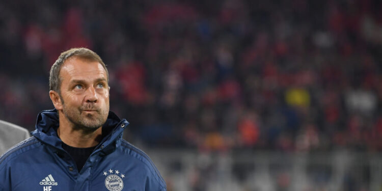 MUNICH, GERMANY - NOVEMBER 09: Head coach Hans-Dieter Flick of Bayern Muenchen looks on prior to the Bundesliga match between FC Bayern Muenchen and Borussia Dortmund at Allianz Arena on November 09, 2019 in Munich, Germany. (Photo by Sebastian Widmann/Bongarts/Getty Images)
