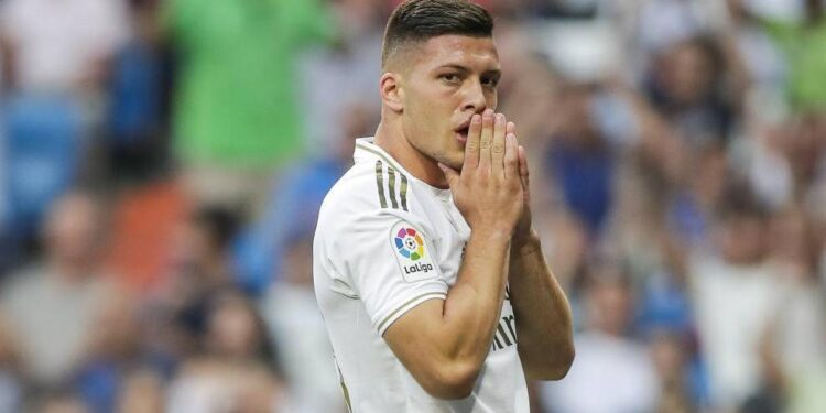 MADRID, SPAIN - AUGUST 24: Jovic of Real Madrid during the La Liga Santander match between Real Madrid v Real Valladolid at the Santiago Bernabeu on August 24, 2019 in Madrid Spain (Photo by David S. Bustamante/Soccrates/Getty Images)