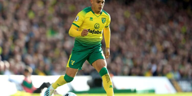 NORWICH, ENGLAND - OCTOBER 05: Max Aarons of Norwich City during the Premier League match between Norwich City and Aston Villa at Carrow Road on October 05, 2019 in Norwich, United Kingdom. (Photo by Stephen Pond/Getty Images)