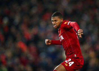 LIVERPOOL, ENGLAND - OCTOBER 30:  Rhian Brewster of Liverpool celebrates after scoring his penalty during the penalty shoot out during the Carabao Cup Round of 16 match between Liverpool and Arsenal at Anfield on October 30, 2019 in Liverpool, England. (Photo by Robbie Jay Barratt - AMA/Getty Images)