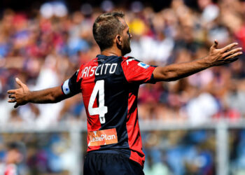 GENOA, ITALY - SEPTEMBER 15: Domenico Criscito of Genoa reacts with disappointment during the Serie A match between Genoa CFC and Atalanta BC at Stadio Luigi Ferraris on September 15, 2019 in Genoa, Italy. (Photo by Paolo Rattini/Getty Images)