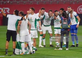 Elche CF players celebration during the La Liga Smartbank, play off LaLiga Santander match between Girona FC and Elche CF at Montivili Stadium on August 23, 2020 in Girona, Spain. (Photo by Bagu Blanco/Pressinphoto/Icon Sport via Getty Images)