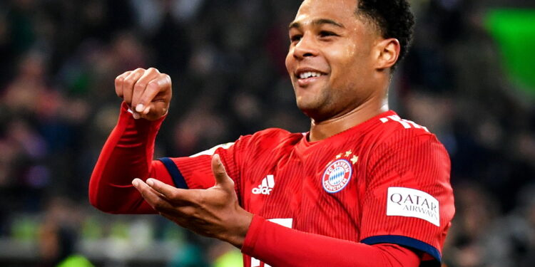 epa07409380 Bayern's Serge Gnabry celebrates after scoring the 4-1 lead during the German Bundesliga soccer match between Borussia Moenchengladbach and FC Bayern Muenchen at Borussia-Park in Moenchengladbach, Germany, 02 March 2019.  EPA-EFE/ULRICH HUFNAGEL CONDITIONS - ATTENTION: The DFL regulations prohibit any use of photographs as image sequences and/or quasi-video.