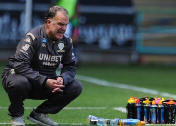 SWANSEA, WALES - JULY 12: Marcelo Bielsa Manager of Leeds United during the Sky Bet Championship match between Swansea City and Leeds United at the Liberty Stadium on July 12, 2020 in Swansea, Wales. (Photo by Athena Pictures/Getty Images)