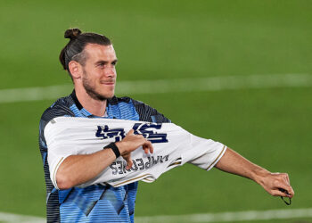MADRID, SPAIN - JULY 16: Real Madrid CF player Gareth Bale celebrate cliching their 34th Spanish La Liga title after the La Liga match between Real Madrid CF and Villarreal CF at Estadio Alfredo Di Stefano on July 16, 2020 in Madrid, Spain. (Photo by Diego Souto/Quality Sport Images/Getty Images)