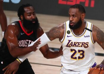 Sep 12, 2020; Lake Buena Vista, Florida, USA; Los Angeles Lakers forward LeBron James (23) dribbles the ball around Houston Rockets guard James Harden (13) in the first half of game five of the second round of the 2020 NBA Playoffs at ESPN Wide World of Sports Complex. Mandatory Credit: Kim Klement-USA TODAY Sports