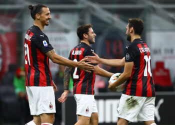 during the Serie A match between AC Milan and Cagliari Calcio at Stadio Giuseppe Meazza on August 1, 2020 in Milan, Italy.