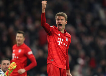 MUNICH, GERMANY - FEBRUARY 05: Thomas Muller of Bayern Munich celebrates after scoring his team's first goal during the DFB Cup round of sixteen match between FC Bayern Muenchen and TSG 1899 Hoffenheim at Allianz Arena on February 05, 2020 in Munich, Germany. (Photo by Christian Kaspar-Bartke/Bongarts/Getty Images)