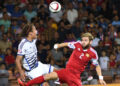 Gael Andonian (R) fights for the ball in the air with Yussuf Poulsen during the UEFA Euro 2016 Group I qualifying round match between Armenia and Denmark at Vazgen Sargsyan stadium in Yerevan, Armenia on September 07