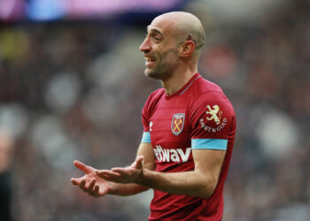 """Soccer Football - Premier League - West Ham United v Huddersfield Town - London Stadium, London, Britain - March 16, 2019 West Ham's Pablo Zabaleta reacts    REUTERS/Ian Walton  EDITORIAL USE ONLY. No use with unauthorized audio, video, data, fixture lists, club/league logos or """"live"""" services. Online in-match use limited to 75 images, no video emulation. No use in betting, games or single club/league/player publications.  Please contact your account representative for further details."""