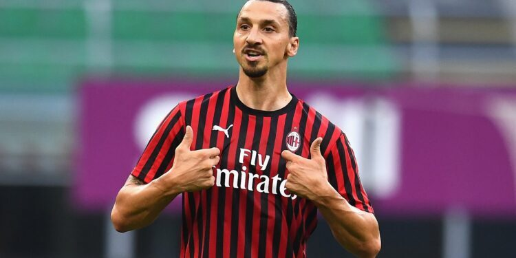 MILAN, ITALY - JULY 15:  Zlatan Ibrahimovic of AC Milan reacts during the Serie A match between AC Milan and  Parma Calcio at Stadio Giuseppe Meazza on July 15, 2020 in Milan, Italy.  (Photo by Claudio Villa/Getty Images)