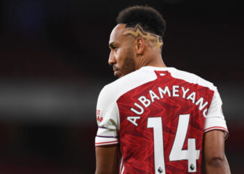 LONDON, ENGLAND - SEPTEMBER 19: Pierre-Emerick Aubameyang of Arsenal during the Premier League match between Arsenal and West Ham United at Emirates Stadium on September 19, 2020 in London, England. (Photo by David Price/Arsenal FC via Getty Images)