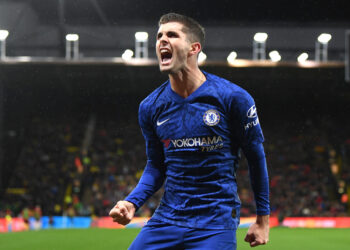 WATFORD, ENGLAND - NOVEMBER 02: Christian Pulisic of Chelsea celebrates after scoring his team's second goal during the Premier League match between Watford FC and Chelsea FC at Vicarage Road on November 02, 2019 in Watford, United Kingdom. (Photo by Darren Walsh/Chelsea FC via Getty Images)