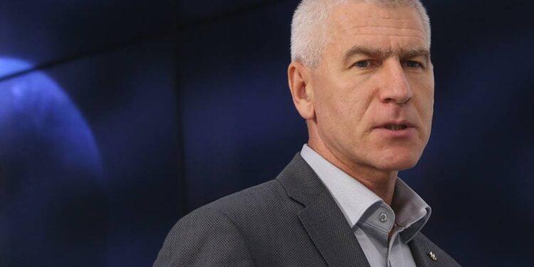 MOSCOW, RUSSIA – SEPTEMBER 6, 2017: FISU (International University Sports Federation) President Oleg Matytsin attends a press conference on preparation for the 29th Winter Universiade scheduled to start on March 2, 2019 in Krasnoyarsk. Vladimir Gerdo/TASS  Ðîññèÿ. Ìîñêâà. 6 ñåíòÿáðÿ 2017. Ïðåçèäåíò Ìåæäóíàðîäíîé ôåäåðàöèè ñòóäåí÷åñêîãî ñïîðòà (ÔÈÑÓ) Îëåã Ìàòûöèí âî âðåìÿ ïðåññ-êîíôåðåíöèè, ïîñâÿùåííîé ïîäãîòîâêå ê Âñåìèðíîé çèìíåé óíèâåðñèàäå â Êðàñíîÿðñêå ñ ó÷åòîì îïûòà íåäàâíî çàâåðøèâøåéñÿ Âñåìèðíîé ëåòíåé óíèâåðñèàäû â Òàéáýå. Âëàäèìèð Ãåðäî/ÒÀÑÑ