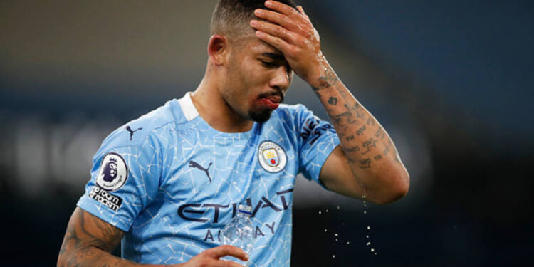 MANCHESTER, ENGLAND - DECEMBER 15: Gabriel Jesus of Manchester City reacts during the Premier League match between Manchester City and West Bromwich Albion at Etihad Stadium on December 15, 2020 in Manchester, England. The match will be played without fans, behind closed doors as a Covid-19 precaution.  (Photo by Clive Brunskill/Getty Images)