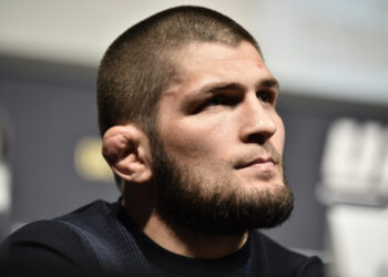 LAS VEGAS, NEVADA - MARCH 06: Khabib Nurmagomedov interacts with media during the UFC 249 press conference at T-Mobile Arena on March 06, 2020 in Las Vegas, Nevada. (Photo by Chris Unger/Zuffa LLC)