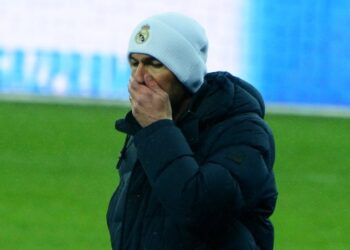 KYIV, UKRAINE - DECEMBER 01: Real Madrid's French coach Zinedine Zidane during the UEFA Champions League Group B football match between Shakhtar Donetsk and Real Madrid