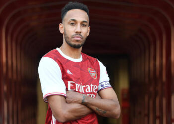 LONDON, ENGLAND - SEPTEMBER 15: Arsenal announce a new contract for Pierre-Emerick Aubameyang on September 15, 2020 in London, England. (Photo by Stuart MacFarlane/Arsenal FC via Getty Images)