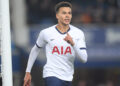 LIVERPOOL, ENGLAND - NOVEMBER 03: Dele Alli of Tottenham Hotspur celebrates after scoring his sides first goal during the Premier League match between Everton FC and Tottenham Hotspur at Goodison Park on November 03, 2019 in Liverpool, United Kingdom. (Photo by Michael Regan/Getty Images)