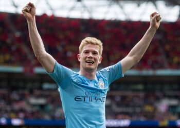 LONDON, ENGLAND - MAY 18: Kevin de Bruyne of Manchester City celebrate during the FA Cup Final match between Manchester City and Watford at Wembley Stadium on May 18, 2019 in London, England. (Photo by Sebastian Frej/MB Media) SPO, SOC, FOC PUBLICATIONxINxGERxSUIxAUTxONLY Copyright: xSebastianxFrej/MBxMediax