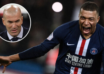 TOPSHOT - Paris Saint-Germain's French forward Kylian Mbappe celebrates after scoring a goal during the French L1 football match between Paris Saint-Germain (PSG) and Girondins de Bordeaux at the Parc des Princes stadium in Paris, on February 23, 2020. (Photo by Martin BUREAU / AFP) (Photo by MARTIN BUREAU/AFP via Getty Images)