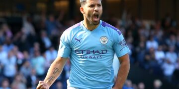 MANCHESTER, ENGLAND - SEPTEMBER 21: Sergio Aguero of Manchester City celebrates scoring his teams second goal during the Premier League match between Manchester City and Watford FC at Etihad Stadium on September 21, 2019 in Manchester, United Kingdom. (Photo by Alex Livesey/Getty Images)