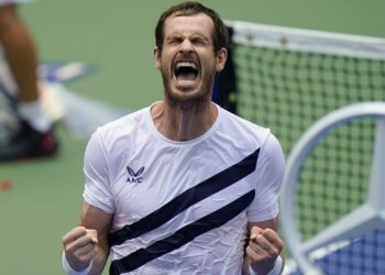 Andy Murray, of Great Britain, reacts after defeating Yoshihito Nishioka, of Japan, during the first round of the US Open tennis championships, Tuesday, Sept. 1, 2020, in New York. (AP Photo/Seth Wenig)/USO175/20245759498088//2009012310
