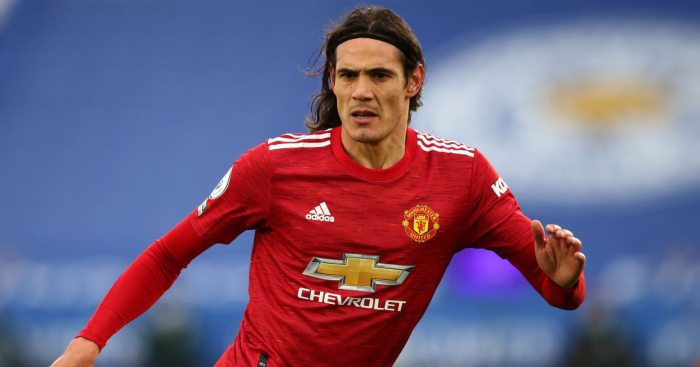 LEICESTER, ENGLAND - DECEMBER 26: Edinson Cavani of Manchester United during the Premier League match between Leicester City and Manchester United at The King Power Stadium on December 26, 2020 in Leicester, United Kingdom. The match will be played without fans, behind closed doors as a Covid-19 precaution. (Photo by Marc Atkins/Getty Images)