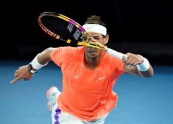 FILE PHOTO: Tennis - Australian Open - Melbourne Park, Melbourne, Australia, February 17, 2021 Spain's Rafael Nadal in action during his quarter final match against Greece's Stefanos Tsitsipas REUTERS/Jaimi Joy/File Photo