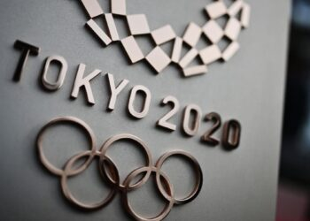 The logo for the Tokyo 2020 Olympic Games is seen in Tokyo on February 15, 2020. (Photo by CHARLY TRIBALLEAU / AFP) (Photo by CHARLY TRIBALLEAU/AFP via Getty Images)