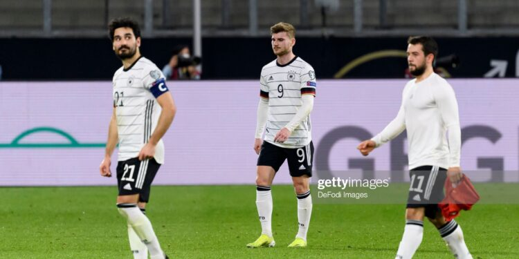 DUISBURG, GERMANY - MARCH 31: (BILD ZEITUNG OUT) Ilkay Guendogan of Germany, Timo Werner of Germany and Amin Younes of Germany looks dejected during the FIFA World Cup 2022 Qatar qualifying match between Germany and North Macedonia on March 31, 2021 in Duisburg, Germany. (Photo by Alex Gottschalk/DeFodi Images via Getty Images)
