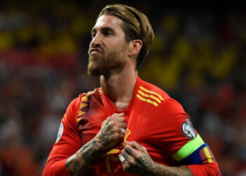 Spain's defender Sergio Ramos celebrates after scoring a penalty during the UEFA Euro 2020 group F qualifying football match between Spain and Sweden at the Santiago Bernabeu stadium in Madrid on June 10, 2019. (Photo by PIERRE-PHILIPPE MARCOU / AFP)        (Photo credit should read PIERRE-PHILIPPE MARCOU/AFP/Getty Images)