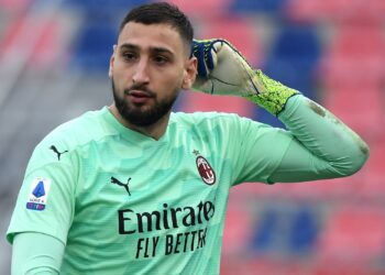 RENATO DALL'ARA STADIUM, BOLOGNA, ITALY - 2021/01/30: Gianluigi Donnarumma of Milan reacts during the Serie A football match between Bologna FC and AC Milan. AC Milan won 2-1 over Bologna FC. (Photo by Andrea Staccioli/Insidefoto/LightRocket via Getty Images)