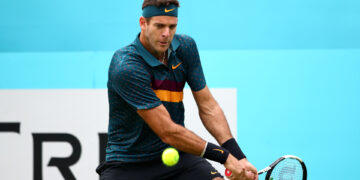 LONDON, ENGLAND - JUNE 19: Juan Martin del Potro of Argentina plays a backhand during his First Round Singles Match against Denis Shapovalov of Canada during day Three of the Fever-Tree Championships at Queens Club on June 19, 2019 in London, United Kingdom. (Photo by Clive Brunskill/Getty Images)