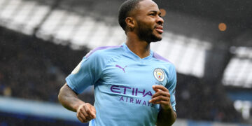 MANCHESTER, ENGLAND - OCTOBER 26: Raheem Sterling of Manchester City celebrates after scoring his team's first goal during the Premier League match between Manchester City and Aston Villa at Etihad Stadium on October 26, 2019 in Manchester, United Kingdom. (Photo by Michael Regan/Getty Images)