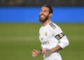 MADRID, SPAIN - JUNE 18: Sergio Ramos of Real Madrid CF smiles during the Liga match between Real Madrid CF and Valencia CF at Estadio Alfredo Di Stefano on June 18, 2020 in Madrid, Spain. (Photo by Denis Doyle/Getty Images)