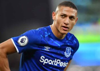 Everton's Brazilian striker Richarlison looks on during the English Premier League football match between Everton and Brighton Hove and Albion at Goodison Park in Liverpool, north west England on January 11, 2020. (Photo by Paul ELLIS / AFP) / RESTRICTED TO EDITORIAL USE. No use with unauthorized audio, video, data, fixture lists, club/league logos or 'live' services. Online in-match use limited to 120 images. An additional 40 images may be used in extra time. No video emulation. Social media in-match use limited to 120 images. An additional 40 images may be used in extra time. No use in betting publications, games or single club/league/player publications. /  (Photo by PAUL ELLIS/AFP via Getty Images)