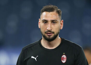 ROME, ITALY - APRIL 26: Gianluigi Donnarumma of A.C. Milan looks on prior to the Serie A match between SS Lazio and AC Milan at Stadio Olimpico on April 26, 2021 in Rome, Italy. Sporting stadiums around Italy remain under strict restrictions due to the Coronavirus Pandemic as Government social distancing laws prohibit fans inside venues resulting in games being played behind closed doors. (Photo by Paolo Bruno/Getty Images)