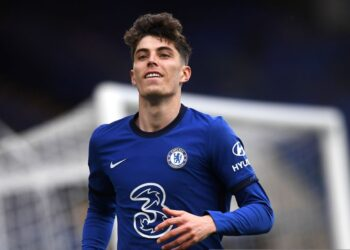 Chelsea's Kai Havertz celebrates scoring their side's second goal of the game during the Premier League match at Stamford Bridge, London. Issue date: Saturday May 1, 2021. (Photo by Neil Hall/PA Images via Getty Images)
