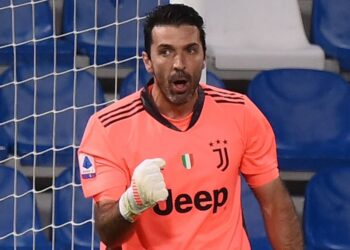 Juventus' Italian goalkeeper Gianluigi Buffon reacts after deflecting a penalty during the Italian Serie A football match Sassuolo vs Juventus on May 12, 2021 at the Mapei-Citta del Tricolore stadium in Reggio Emilia. (Photo by Marco BERTORELLO / AFP) (Photo by MARCO BERTORELLO/AFP via Getty Images)