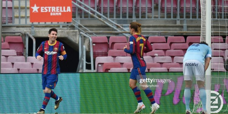 Lionel Messi of FC Barcelona celebrates with his teammate Antoine Griezmann after scoring the 1-0 during the La Liga match between FC Barcelona and RC Celta played at Camp Nou Stadium on May 16, 2021 in Barcelona, Spain. (Photo by Pressinphoto / Icon Sport)