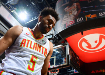 ATLANTA, GA - DECEMBER 19: Jabari Parker #5 of the Atlanta Hawks looks on during the game against the Utah Jazz on December 19, 2019 at State Farm Arena in Atlanta, Georgia.  NOTE TO USER: User expressly acknowledges and agrees that, by downloading and/or using this Photograph, user is consenting to the terms and conditions of the Getty Images License Agreement. Mandatory Copyright Notice: Copyright 2019 NBAE (Photo by Scott Cunningham/NBAE via Getty Images)