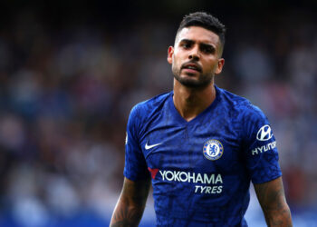 LONDON, ENGLAND - AUGUST 18: Emerson Palmieri of Chelsea FC in action during the Premier League match between Chelsea FC and Leicester City at Stamford Bridge on August 18, 2019 in London, United Kingdom. (Photo by Chloe Knott - Danehouse/Getty Images)