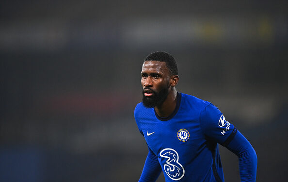 LONDON, ENGLAND - JANUARY 27: Antonio Rudiger of Chelsea during the Premier League match between Chelsea and Wolverhampton Wanderers at Stamford Bridge on January 27, 2021 in London, United Kingdom. Sporting stadiums around the UK remain under strict restrictions due to the Coronavirus Pandemic as Government social distancing laws prohibit fans inside venues resulting in games being played behind closed doors. (Photo by Sam Bagnall - AMA/Getty Images)