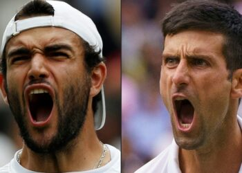 """(COMBO) This combination of pictures created on July 10, 2021 shows Italy's Matteo Berrettini (L) celebrating his win against Poland's Hubert Hurkacz during his men's singles semi-final match, and Serbia's Novak Djokovic celebrating his win against Canada's Denis Shapovalov during his men's singles semi-final match on the eleventh day of the 2021 Wimbledon Championships at The All England Tennis Club in Wimbledon, southwest London, on July 9, 2021. - Novak Djokovic admits """"it will mean everything"""" to capture a sixth Wimbledon title and record-equalling 20th Grand Slam on July 11, 2021. However, if the world number one is to achieve that goal and go three-quarters of the way to the first calendar Slam in more than half a century, he has to find a way past Matteo Berrettini, the Italian with the build of a heavyweight boxer. (Photos by Adrian DENNIS and AELTC/Jon Super / various sources / AFP) / RESTRICTED TO EDITORIAL USE RESTRICTED TO EDITORIAL USE"""