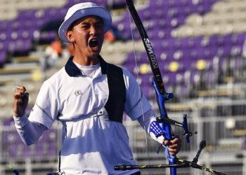 Tokyo 2020 Olympics - Archery - Mixed Team - Gold medal match - Yumenoshima Archery Field, Tokyo, Japan - July 24, 2021. Kim Je Deok of South Korea reacts REUTERS/Clodagh Kilcoyne