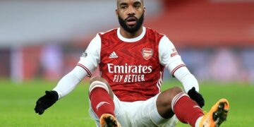 LONDON, ENGLAND - JANUARY 18: Alexandre Lacazette of Arsenal looks on during the Premier League match between Arsenal and Newcastle United at Emirates Stadium on January 18, 2021 in London, England. Sporting stadiums around England remain under strict restrictions due to the Coronavirus Pandemic as Government social distancing laws prohibit fans inside venues resulting in games being played behind closed doors. (Photo by Adam Davy - Pool/Getty Images)