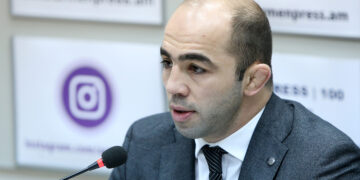 Silver medalist of the Olympic Games MP Arsen Julfalakyan gives a press conference at the 'Armenpress' state news agency